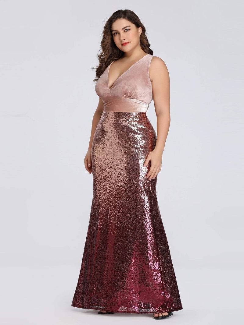 Floor Length Sequin & Velvet Maxi Long Plus Size Mermaid Prom Dresses-Blush 3
