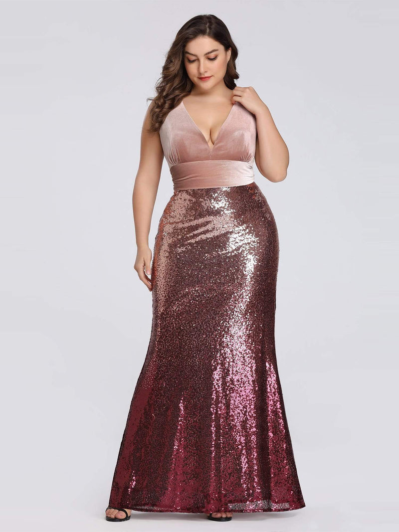 Floor Length Sequin & Velvet Maxi Long Plus Size Mermaid Prom Dresses-Blush 4