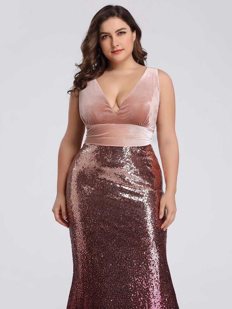 Floor Length Sequin & Velvet Maxi Long Plus Size Mermaid Prom Dresses-Blush 5