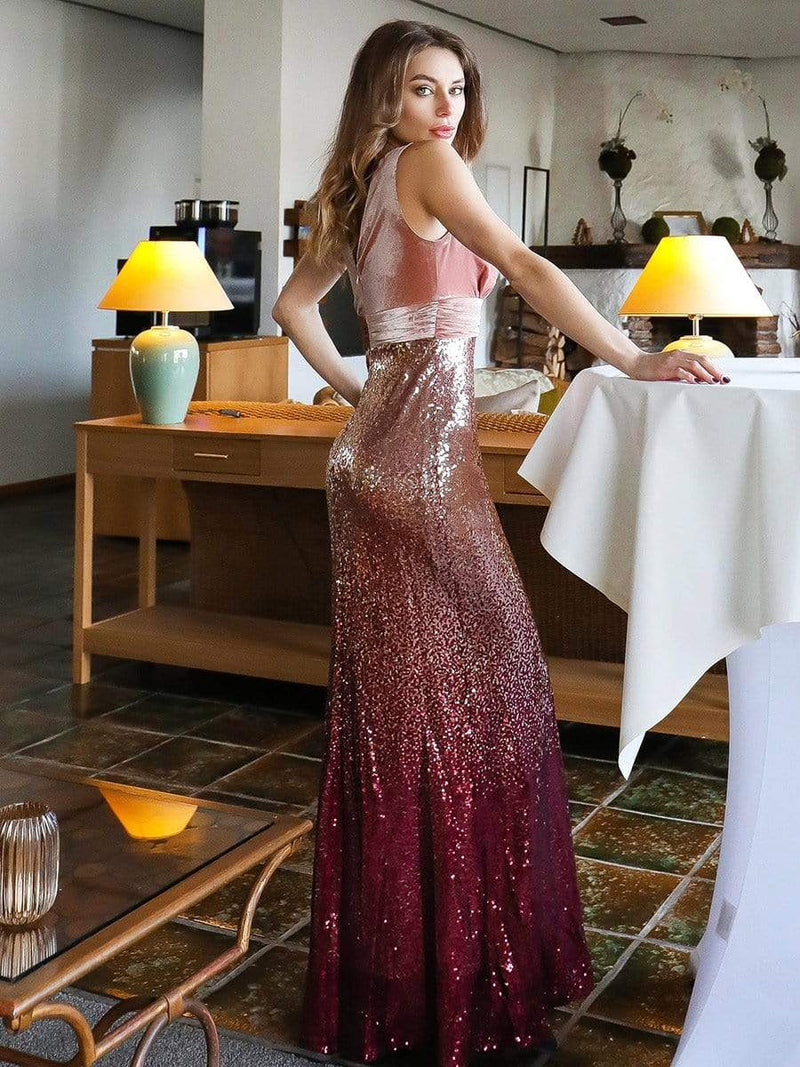 Floor Length Sequin & Velvet Maxi Long Mermaid Prom Dresses-Blush 8