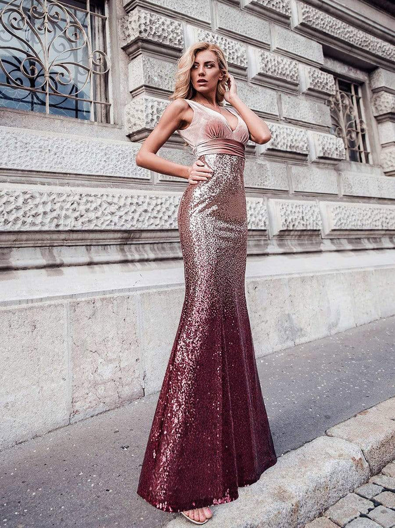Floor Length Sequin & Velvet Maxi Long Mermaid Prom Dresses-Blush 1