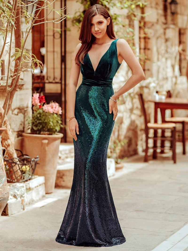Floor Length Sequin & Velvet Maxi Long Mermaid Prom Dresses-Dark Green 1