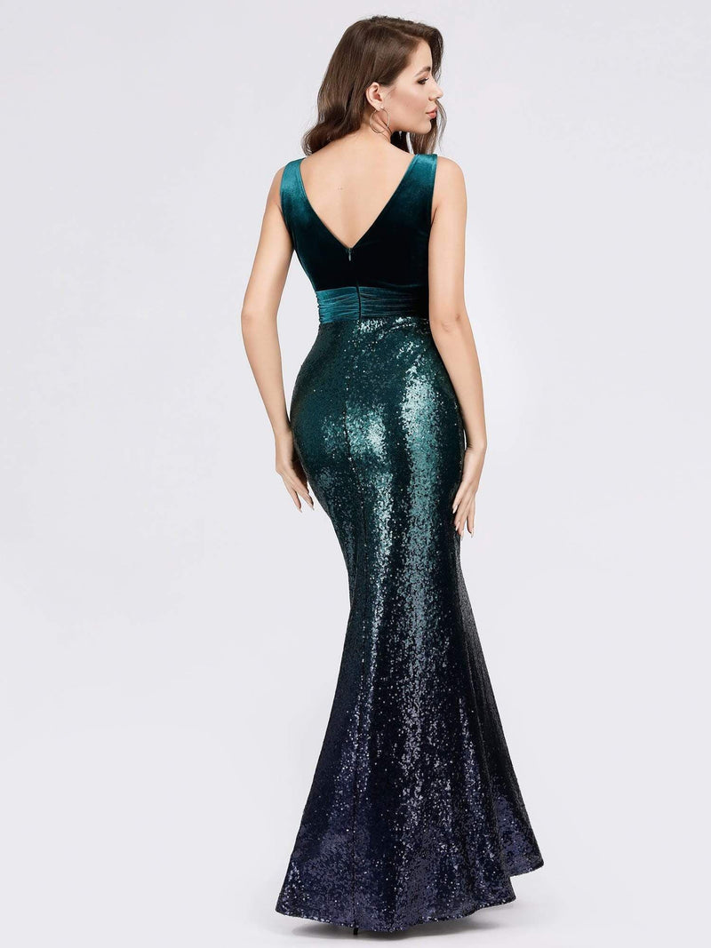 Floor Length Sequin & Velvet Maxi Long Mermaid Prom Dresses-Dark Green 5