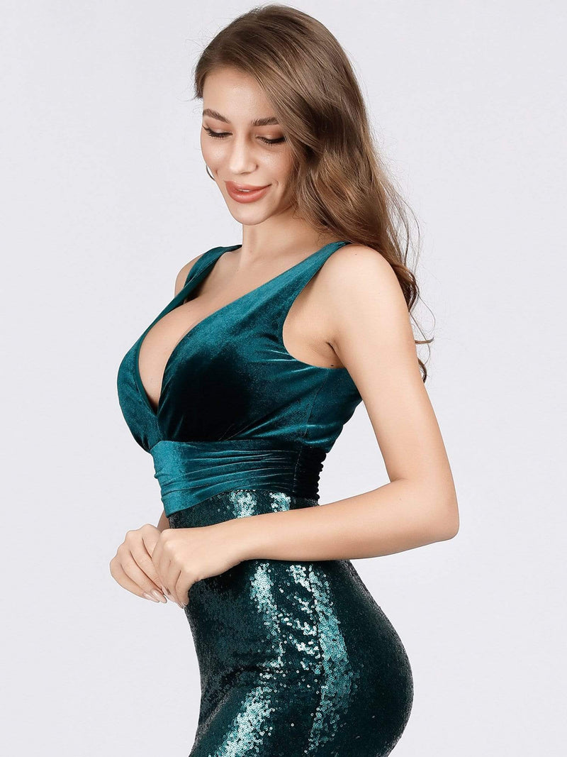 Floor Length Sequin & Velvet Maxi Long Mermaid Prom Dresses-Dark Green 8