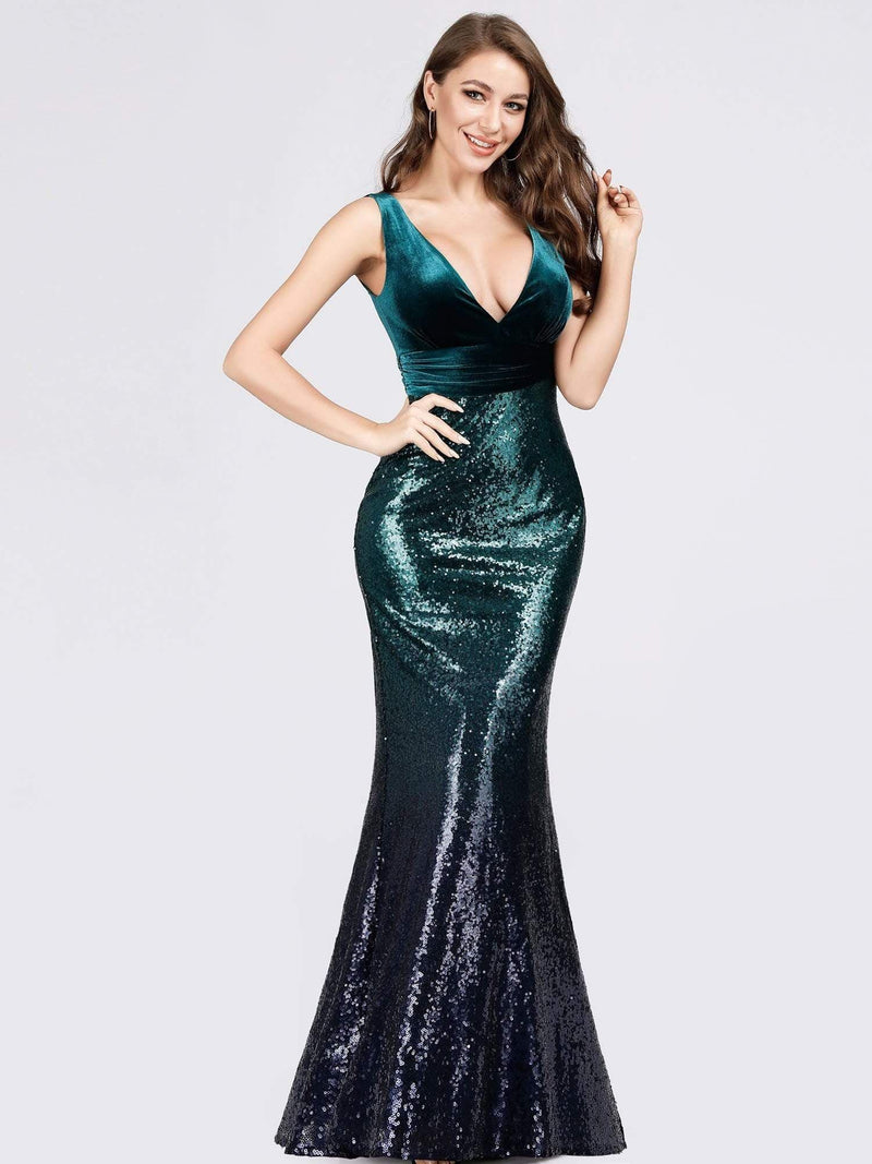 Floor Length Sequin & Velvet Maxi Long Mermaid Prom Dresses-Dark Green 4