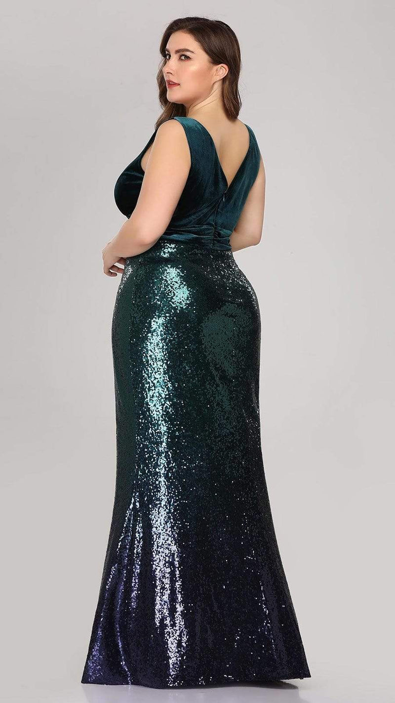 Floor Length Sequin & Velvet Maxi Long Plus Size Mermaid Prom Dresses-Dark Green 3