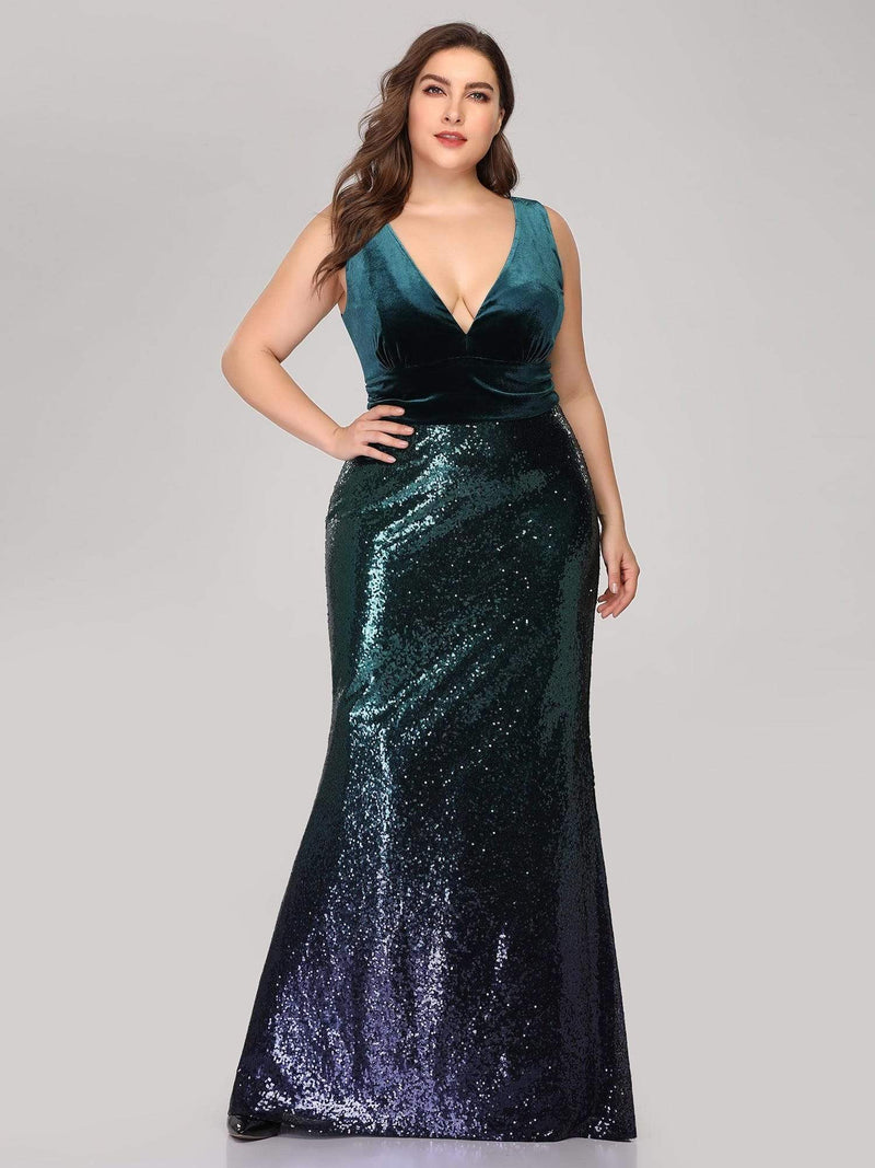 Floor Length Sequin & Velvet Maxi Long Mermaid Prom Dresses-Dark Green 9