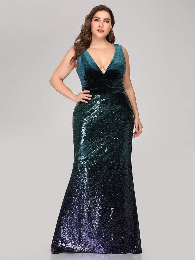 Floor Length Sequin & Velvet Maxi Long Plus Size Mermaid Prom Dresses-Dark Green 1