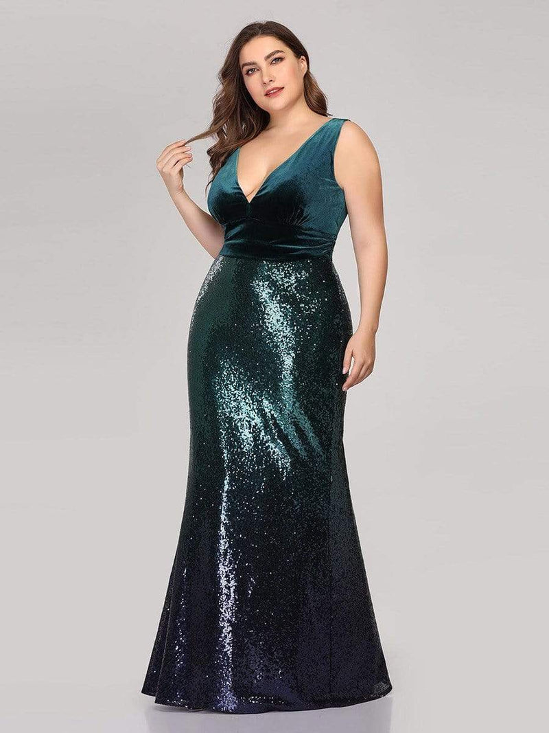 Floor Length Sequin & Velvet Maxi Long Plus Size Mermaid Prom Dresses-Dark Green 2