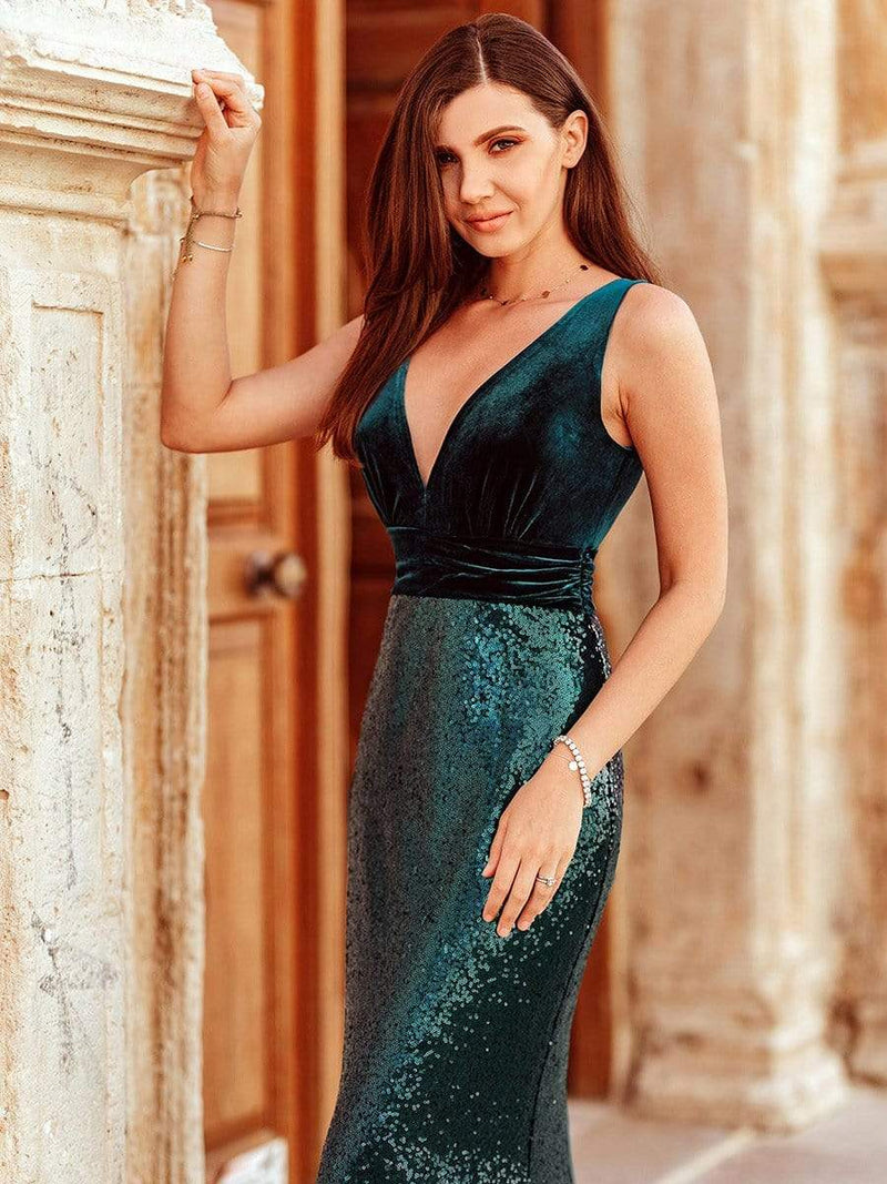 Floor Length Sequin & Velvet Maxi Long Mermaid Prom Dresses-Dark Green 3
