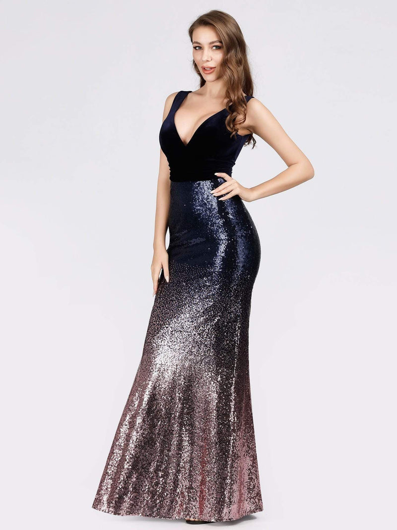 Floor Length Sequin & Velvet Maxi Long Mermaid Prom Dresses-Dark Purple 3