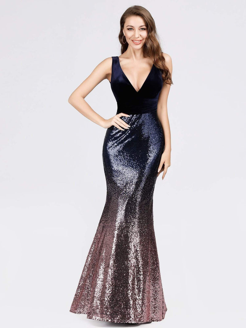 Floor Length Sequin & Velvet Maxi Long Mermaid Prom Dresses-Dark Purple 4