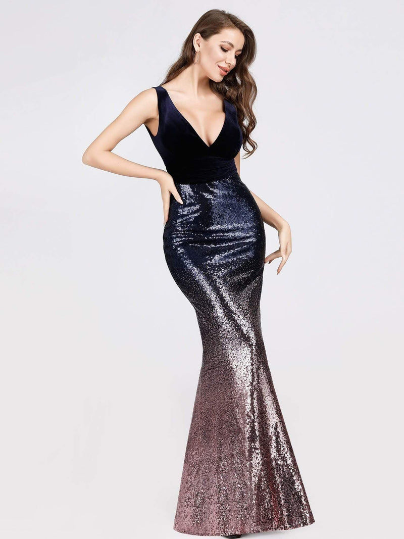 Floor Length Sequin & Velvet Maxi Long Mermaid Prom Dresses-Dark Purple 1