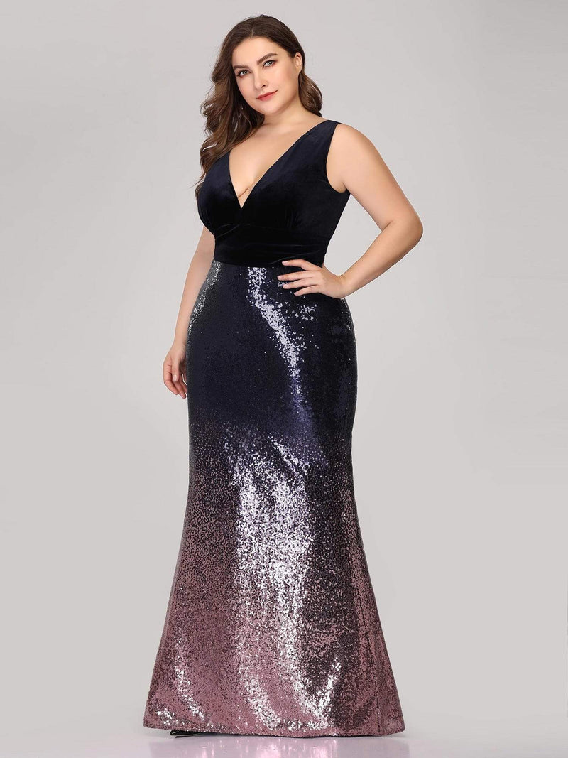 Floor Length Sequin & Velvet Maxi Long Mermaid Prom Dresses-Dark Purple 5