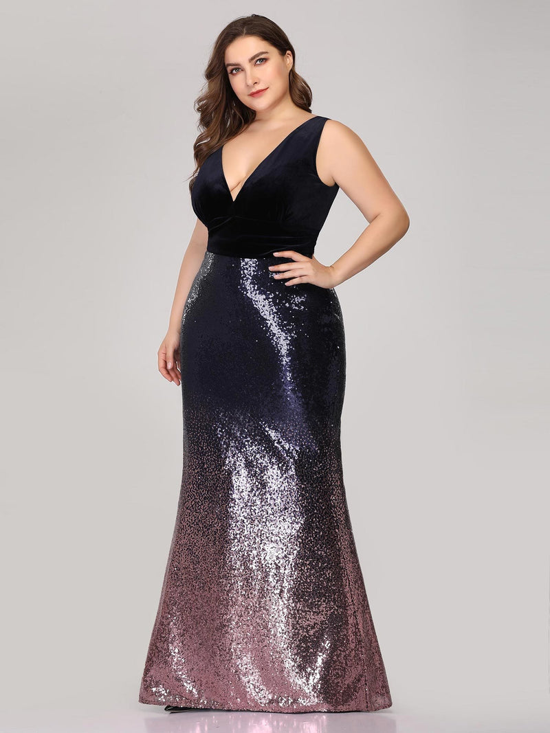 Floor Length Sequin & Velvet Maxi Long Plus Size Mermaid Prom Dresses-Dark Purple 3