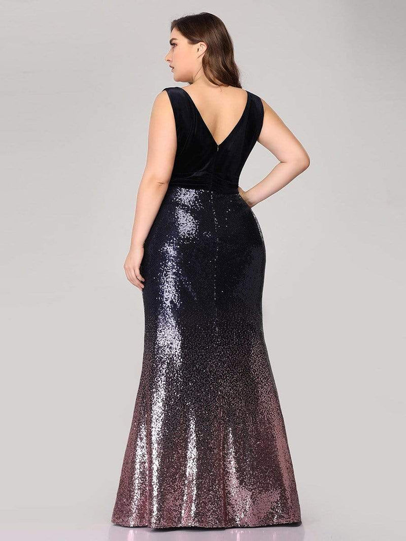 Floor Length Sequin & Velvet Maxi Long Plus Size Mermaid Prom Dresses-Dark Purple 2