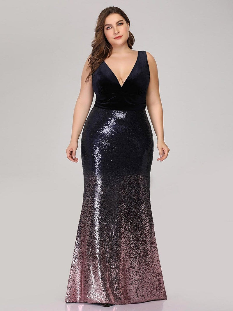 Floor Length Sequin & Velvet Maxi Long Plus Size Mermaid Prom Dresses-Dark Purple 4
