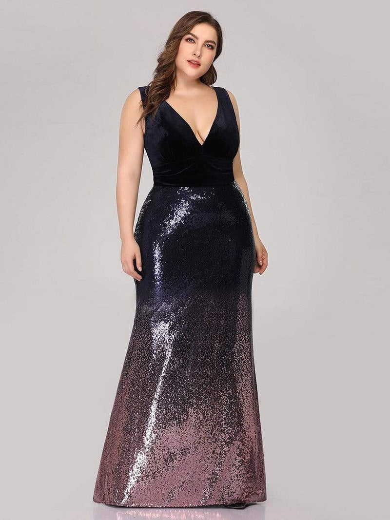 Floor Length Sequin & Velvet Maxi Long Plus Size Mermaid Prom Dresses-Dark Purple 1