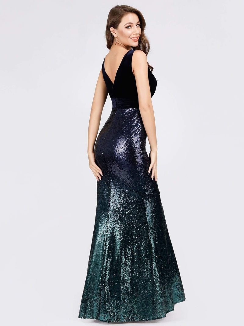 Floor Length Sequin & Velvet Maxi Long Mermaid Prom Dresses-Navy Blue 2