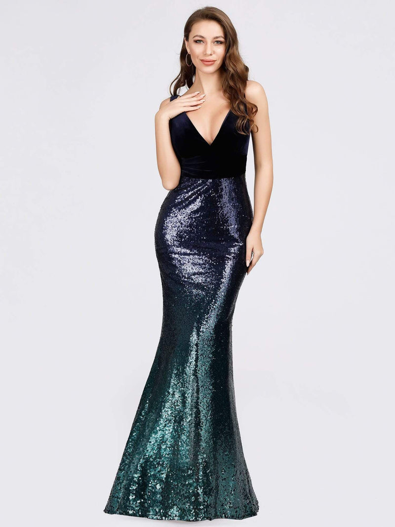 Floor Length Sequin & Velvet Maxi Long Mermaid Prom Dresses-Navy Blue 1