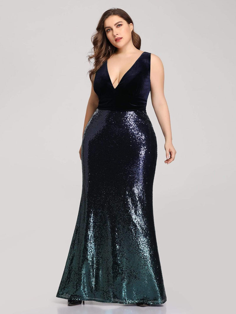 Floor Length Sequin & Velvet Maxi Long Mermaid Prom Dresses-Navy Blue 5