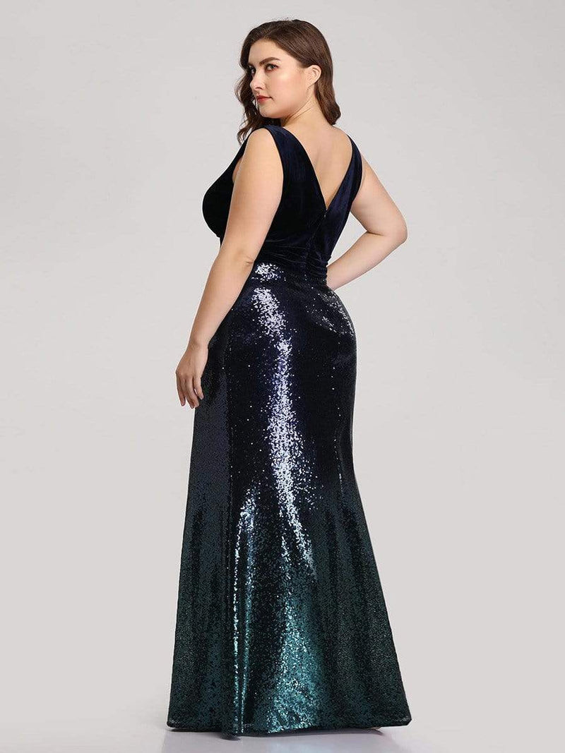 Floor Length Sequin & Velvet Maxi Long Plus Size Mermaid Prom Dresses-Navy Blue 3
