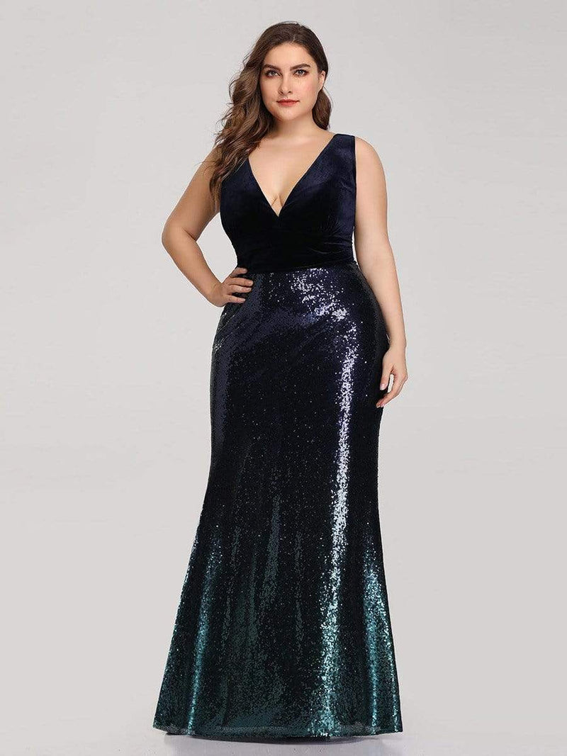 Floor Length Sequin & Velvet Maxi Long Plus Size Mermaid Prom Dresses-Navy Blue 1