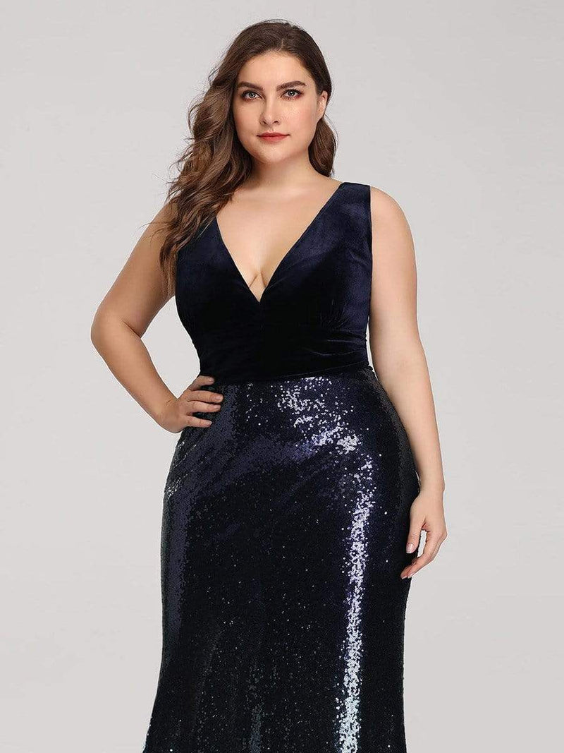 Floor Length Sequin & Velvet Maxi Long Plus Size Mermaid Prom Dresses-Navy Blue 4