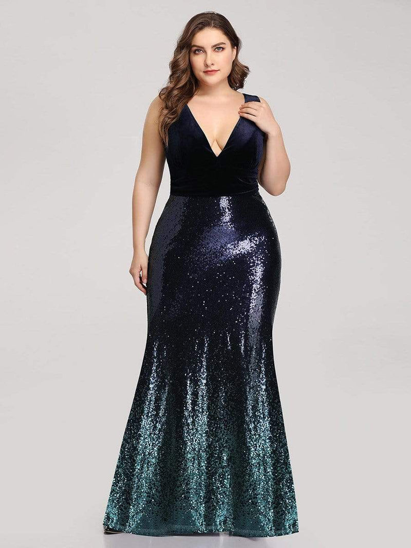 Floor Length Sequin & Velvet Maxi Long Plus Size Mermaid Prom Dresses-Navy Blue 2