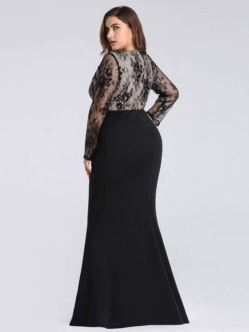 Plus Size Fishtail Dresses With Long Lace Sleeve-Black 2