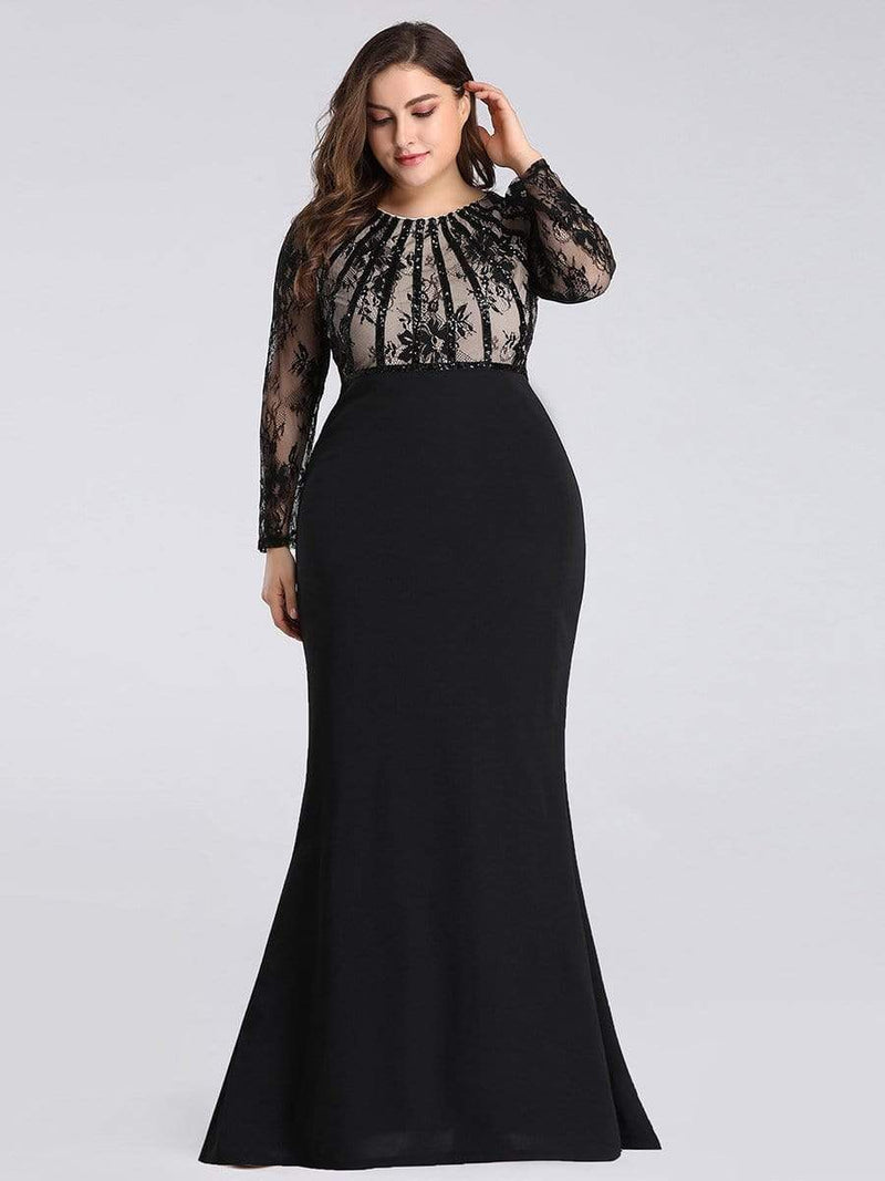 Plus Size Fishtail Dresses With Long Lace Sleeve-Black 3