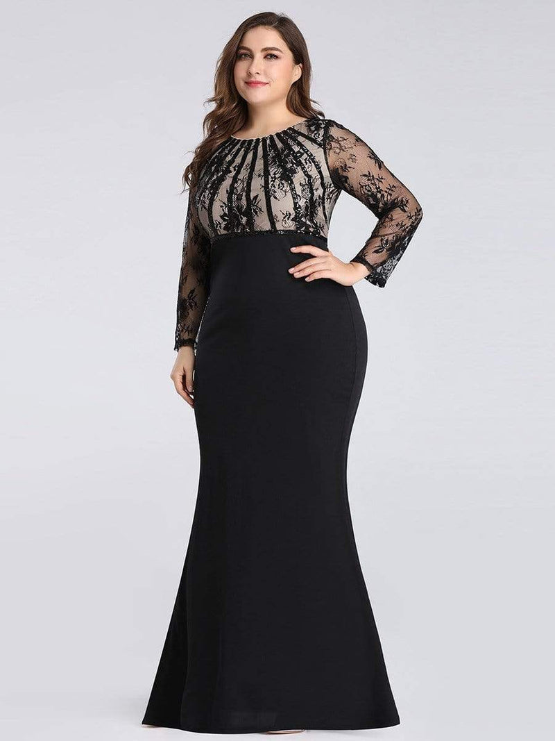 Plus Size Fishtail Dresses With Long Lace Sleeve-Black 4