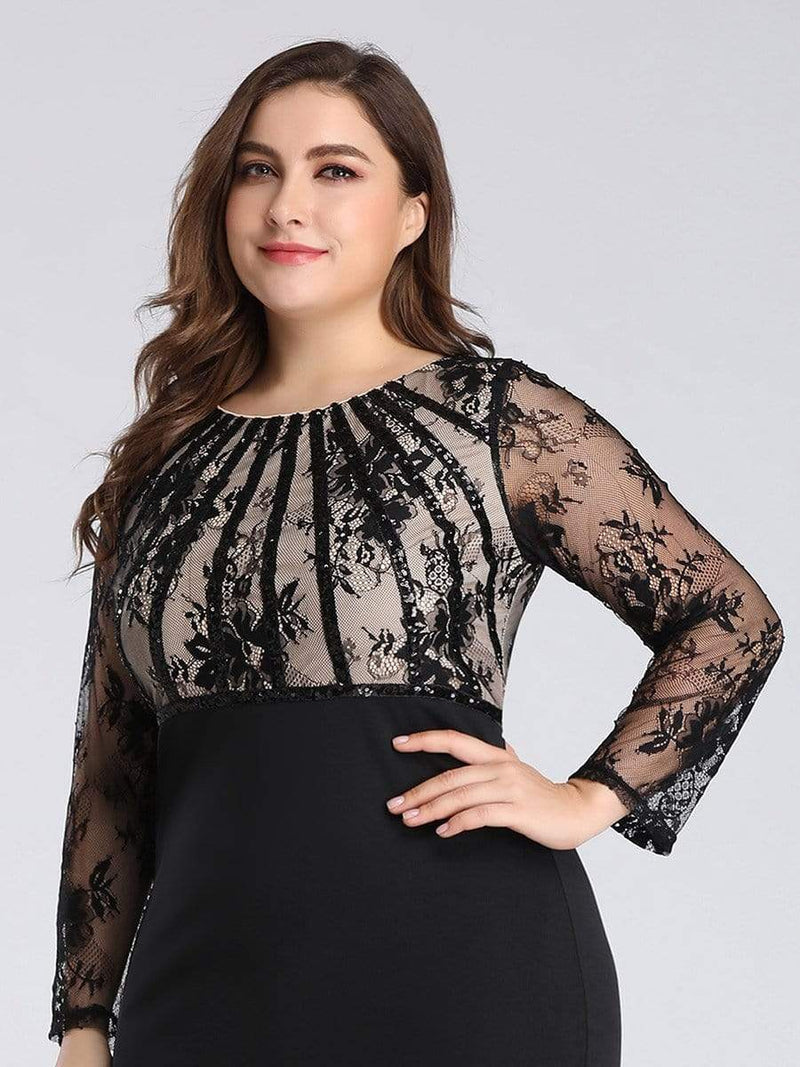 Plus Size Fishtail Dresses With Long Lace Sleeve-Black 5