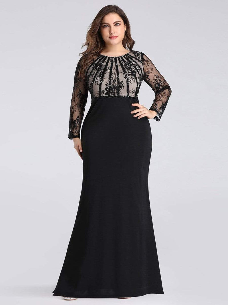 Plus Size Fishtail Dresses With Long Lace Sleeve-Black 1