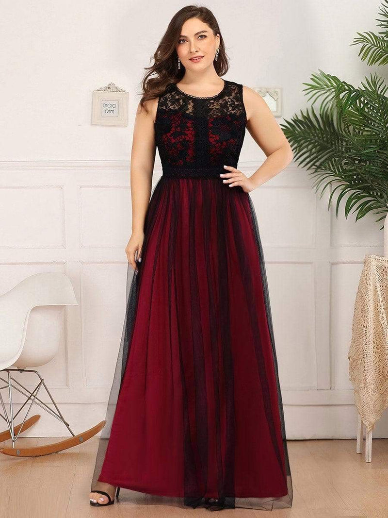 Maxi Long Prom Dresses With Mesh-Burgundy 6