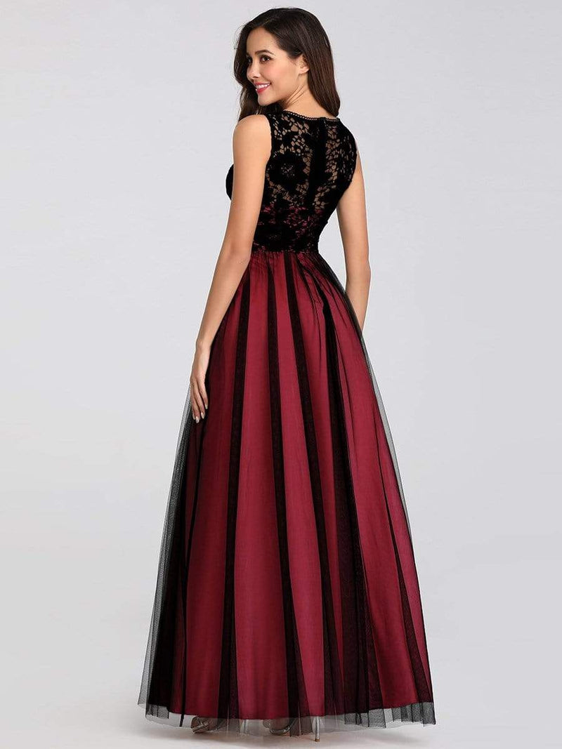Maxi Long Prom Dresses With Mesh-Burgundy 2
