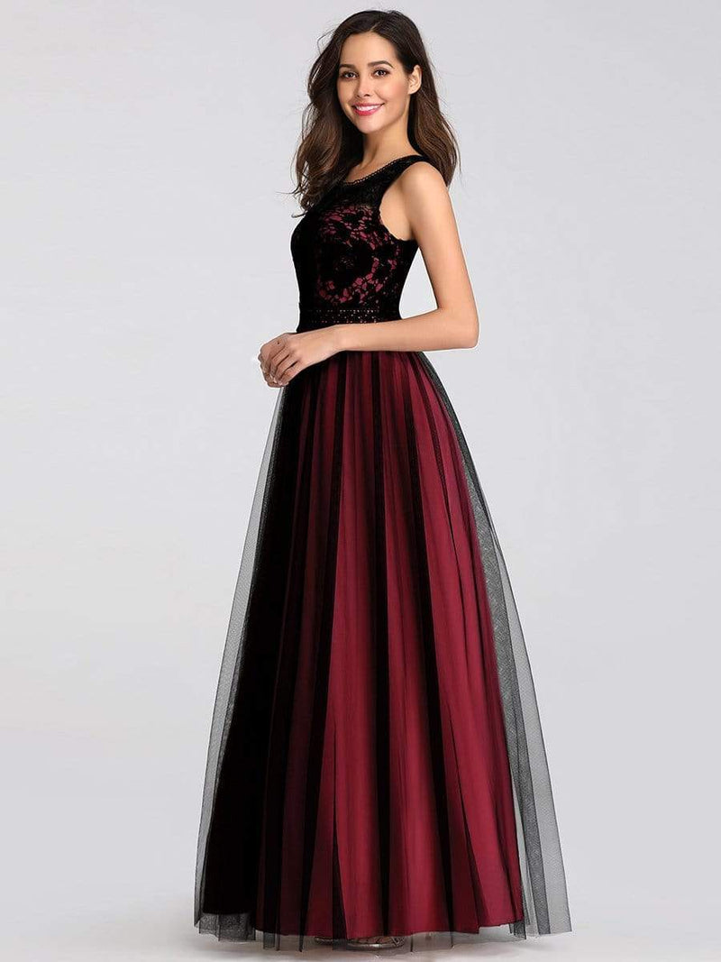 Maxi Long Prom Dresses With Mesh-Burgundy 3