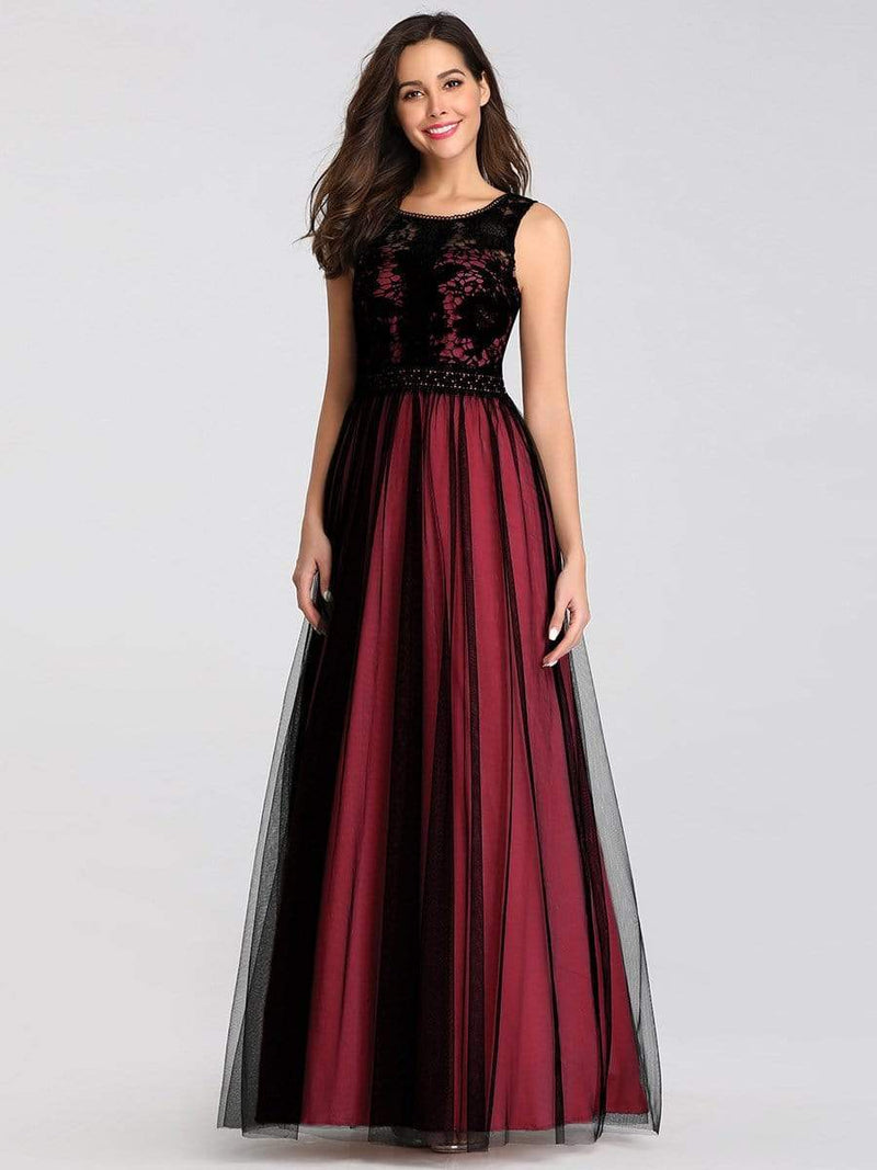 Maxi Long Prom Dresses With Mesh-Burgundy 4