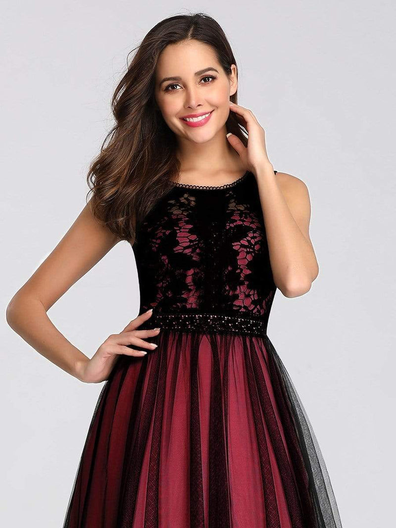 Maxi Long Prom Dresses With Mesh-Burgundy 5