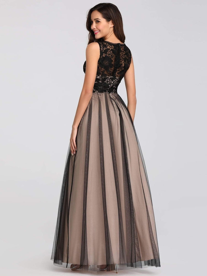 Maxi Long Prom Dresses With Mesh-Black 6