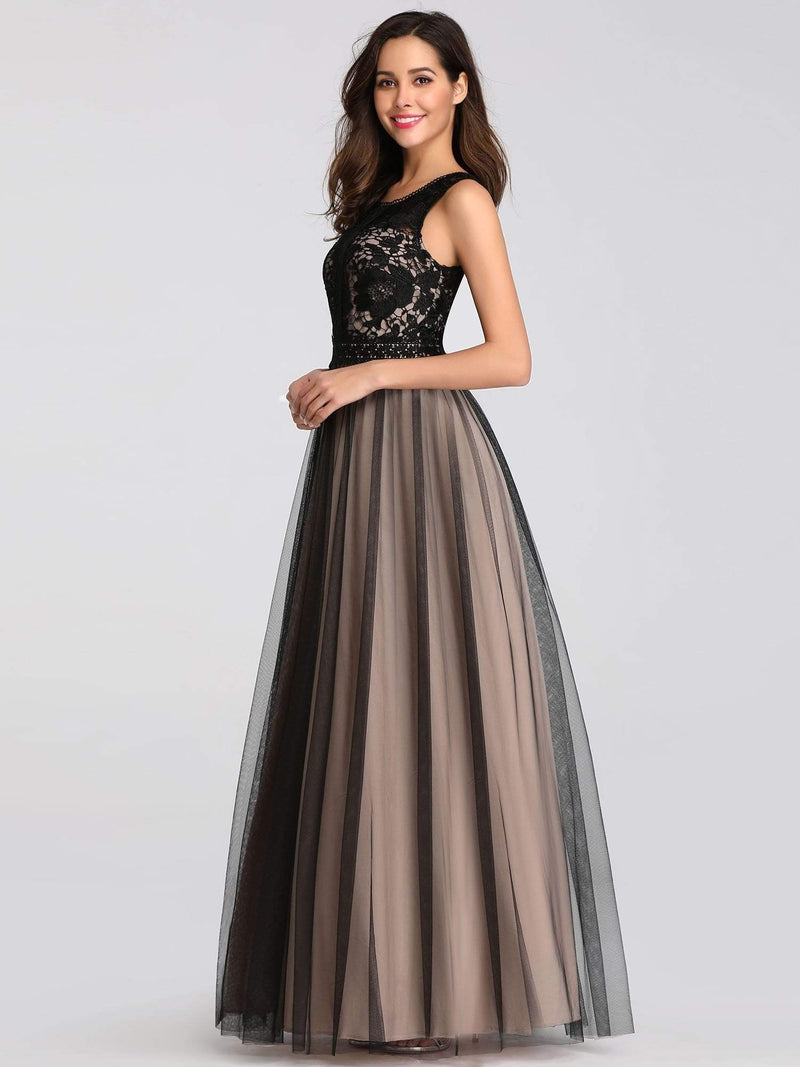 Maxi Long Prom Dresses With Mesh-Black 7