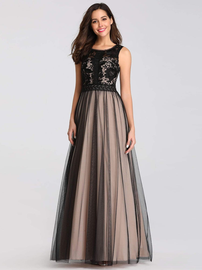 Maxi Long Prom Dresses With Mesh-Black 8