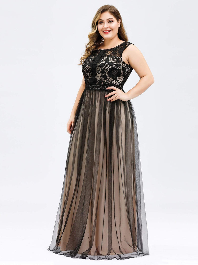 Maxi Long Prom Dresses With Mesh-Black 12