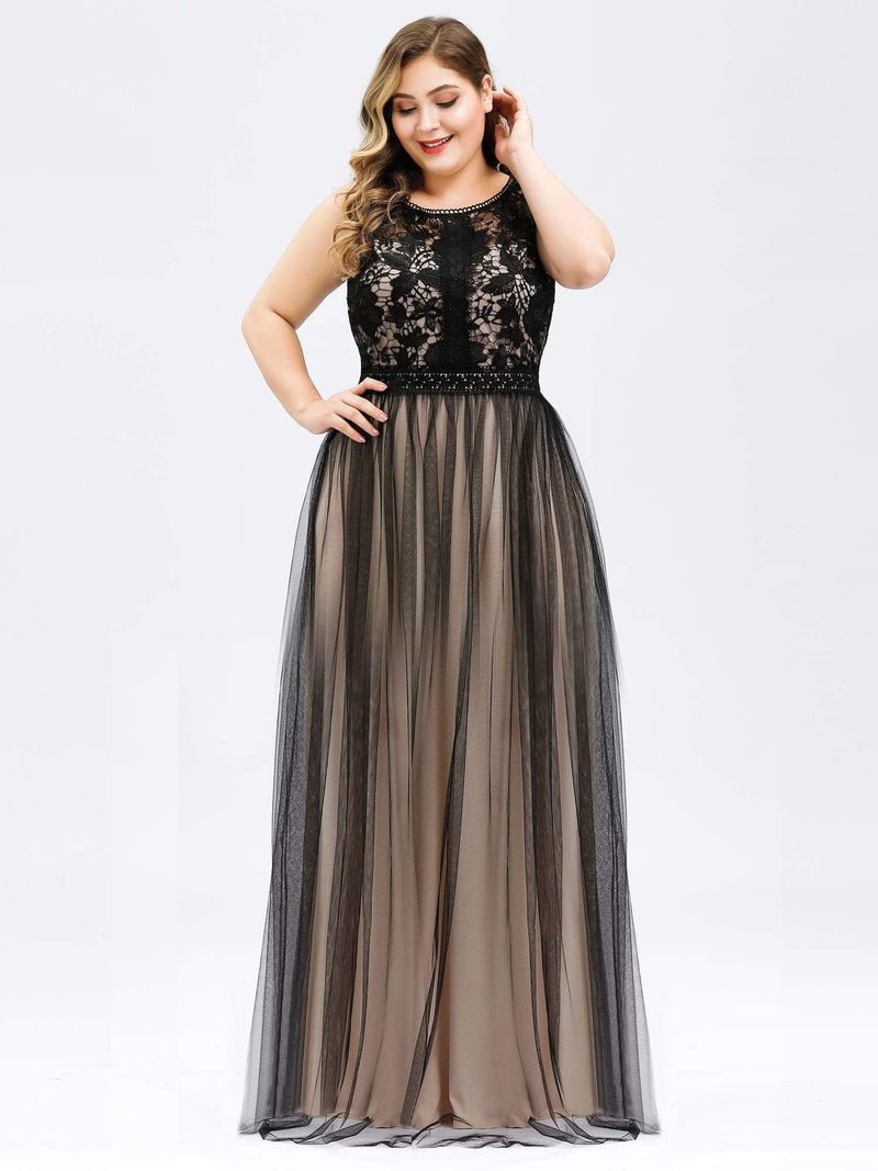 Maxi Long Prom Dresses With Mesh-Black 13