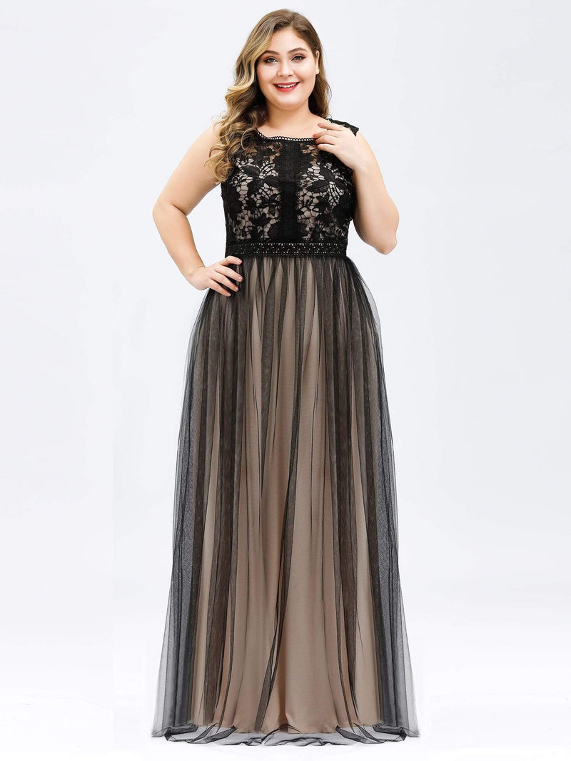 Maxi Long Prom Dresses With Mesh-Black 10