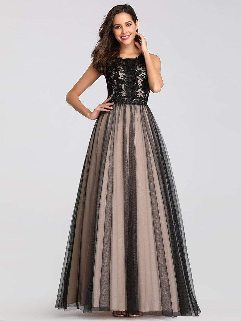 Maxi Long Prom Dresses With Mesh-Black 5