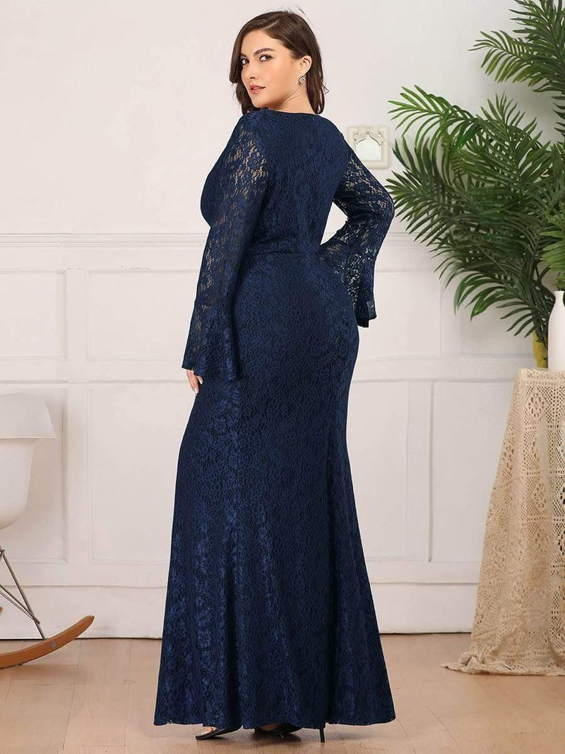 Long Flare Sleeve Lace Mermaid Plus Size Evening Party Dresses-Navy Blue 2