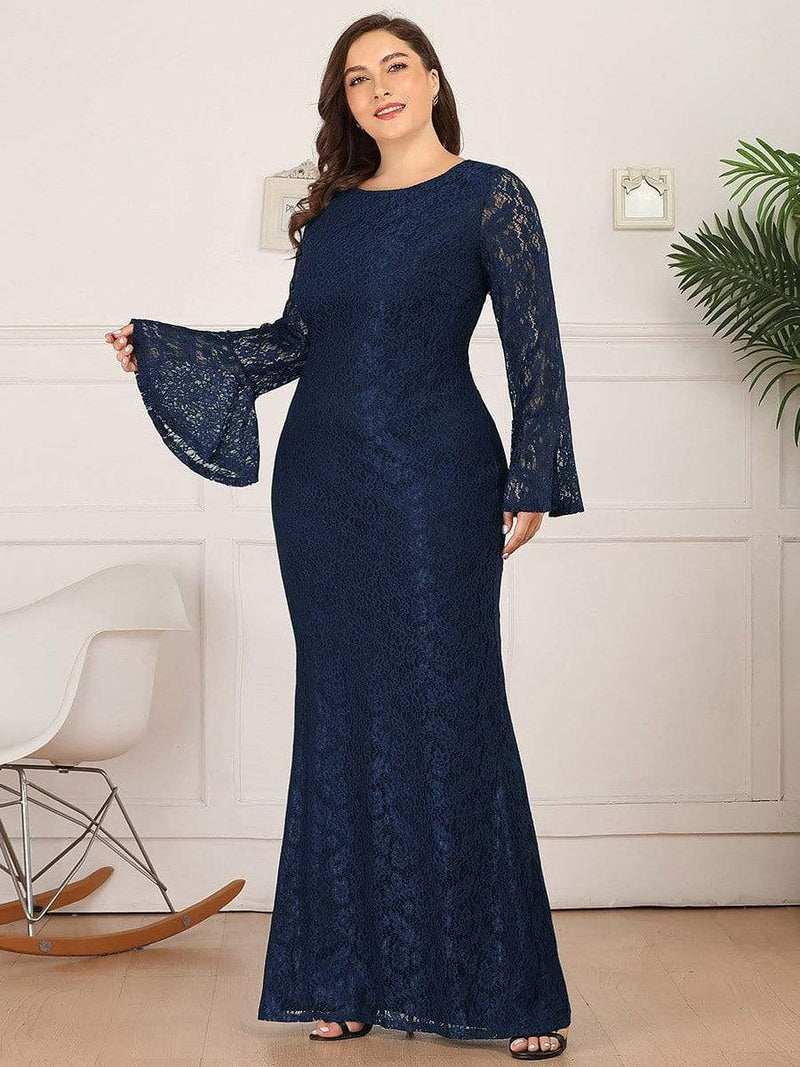 Long Flare Sleeve Lace Mermaid Plus Size Evening Party Dresses-Navy Blue 3