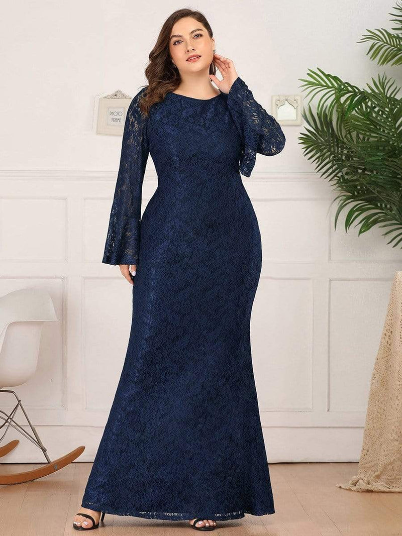 Long Flare Sleeve Lace Mermaid Plus Size Evening Party Dresses-Navy Blue 4