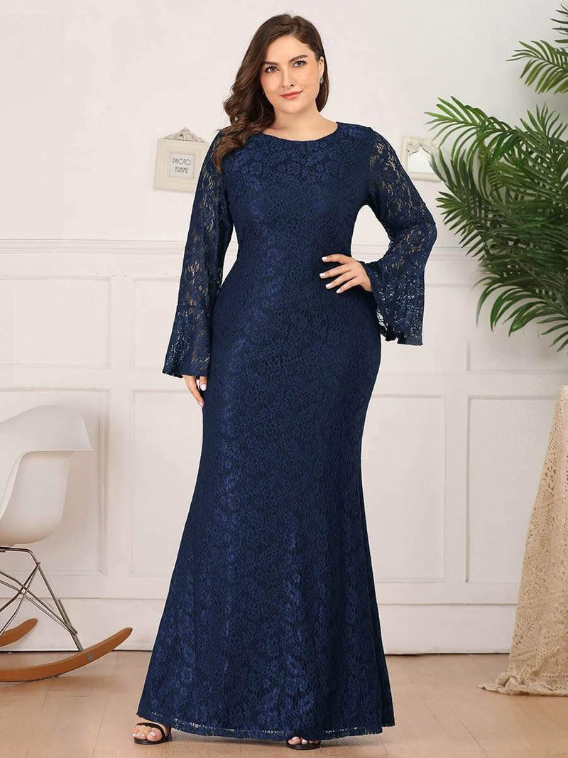 Long Flare Sleeve Lace Mermaid Plus Size Evening Party Dresses-Navy Blue 1
